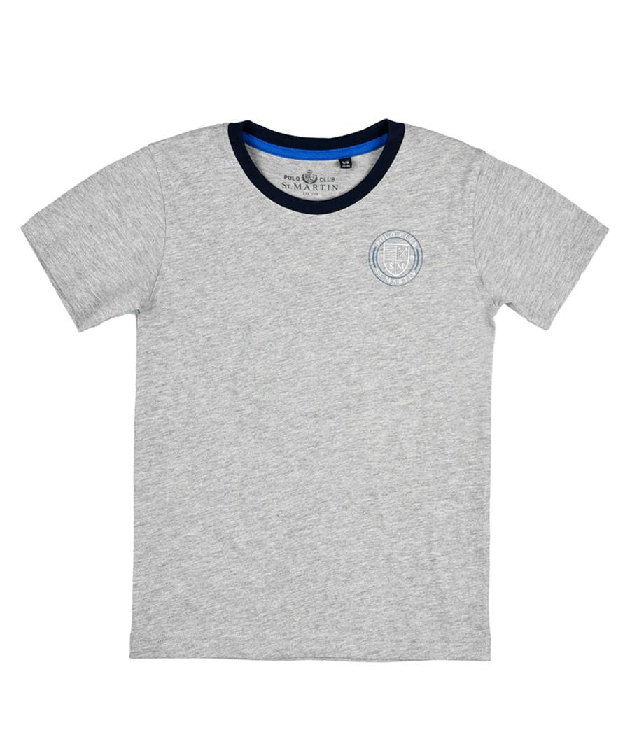 Boys' Grey pure cotton logo T-shirt Sale - polo club st. martin