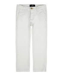 Boys' pearl grey cotton trousers