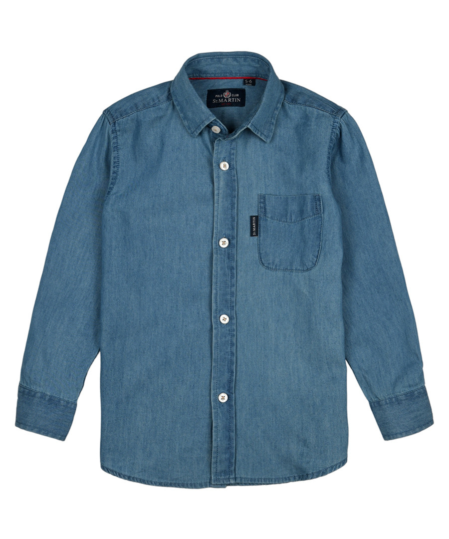 Boys' navy pure cotton button-up shirt Sale - polo club st. martin
