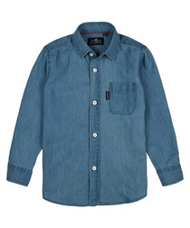 Boys' navy pure cotton button-up shirt