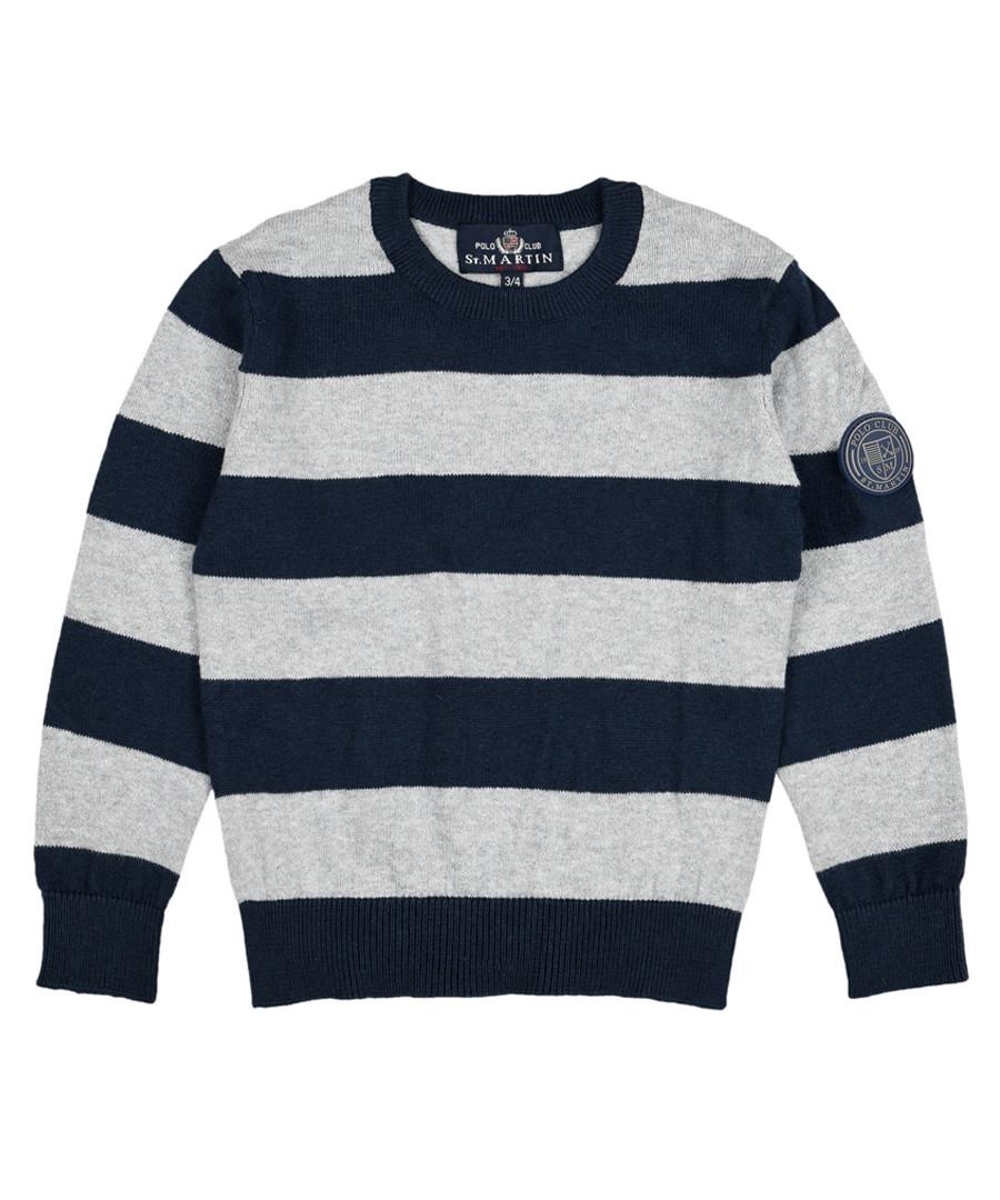 Boys' navy cotton & wool stripe jumper Sale - Polo Club St.Martin