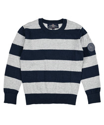 Boys' navy cotton & wool stripe jumper