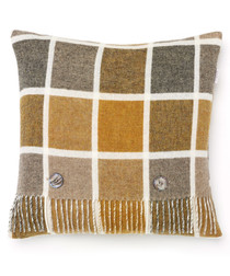 Mustard lambswool feather filled cushion