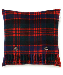 Red lambswool feather filled cushion