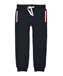 Boys' navy cotton blend joggers