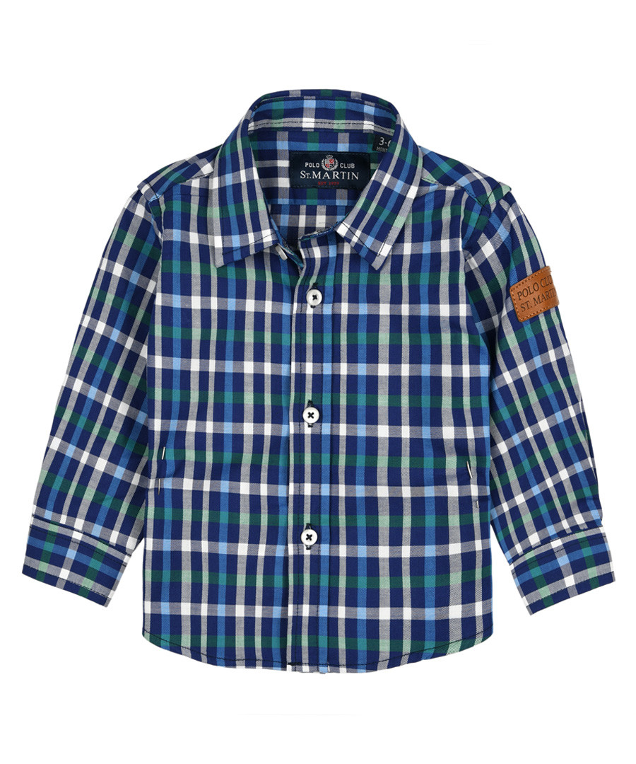 Boys' blue pure cotton check shirt Sale - polo club st. martin