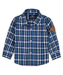 Boys' blue pure cotton check shirt