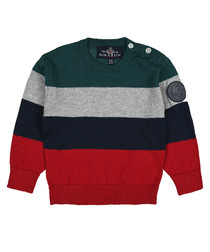Boys' red & green wool & cotton jumper