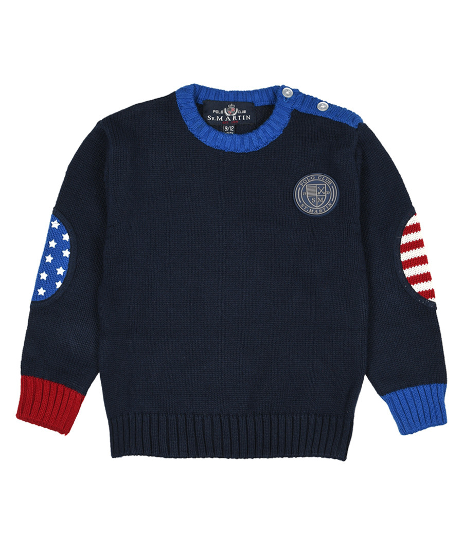 Boys' navy pure cotton jumper Sale - polo club st. martin