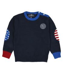 Boys' navy pure cotton jumper