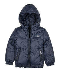 Boys' navy hooded puffer jacket