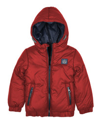 Boys' red hooded puffer jacket