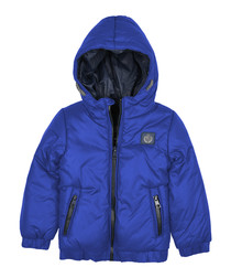 Boys' blue hooded puffer jacket