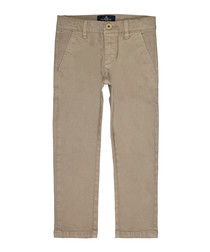 Boys' taupe cotton trousers