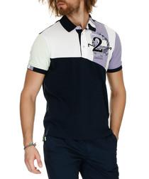 Navy & white cotton polo shirt