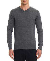 Grey melange wool blend V-neck jumper
