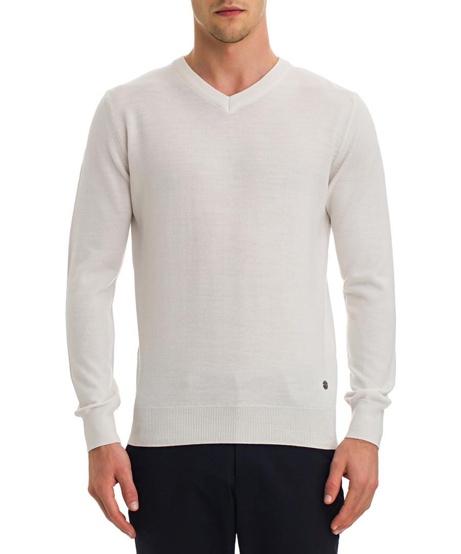 Off-white wool blend V-neck jumper Sale - galvanni