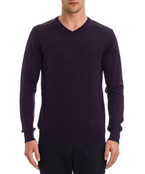 Purple wool blend V-neck jumper