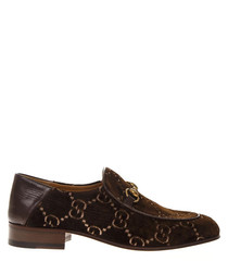 Men's brown velvet horsebit loafers
