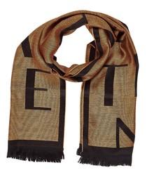 Black & beige wool blend scarf