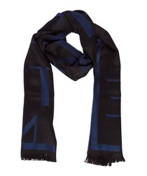 Black & dark wool blend blue scarf