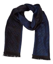 Black & dark blue wool blend scarf