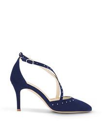 Glitzy navy suede strappy heels