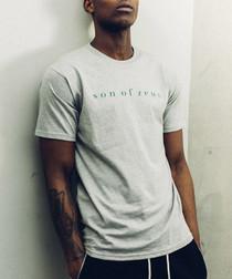 Grey & green cotton logo T-shirt
