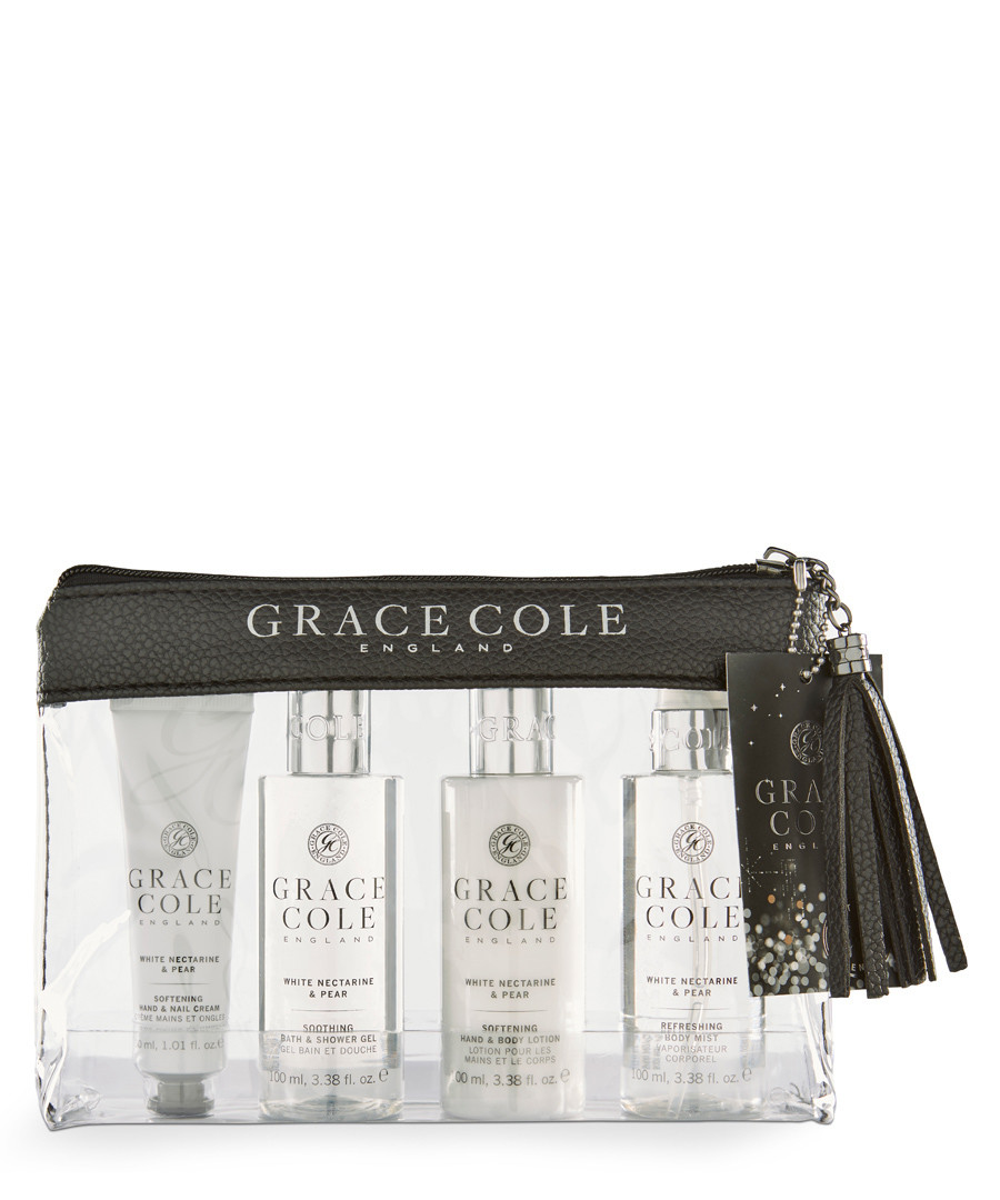 4pc White Nectarine & Pear travel set Sale - grace cole