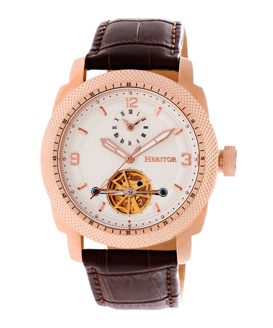 Helmsley brown leather watch Sale - heritor automatic