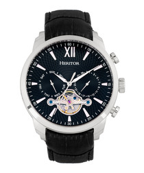 Arthur steel & black leather watch