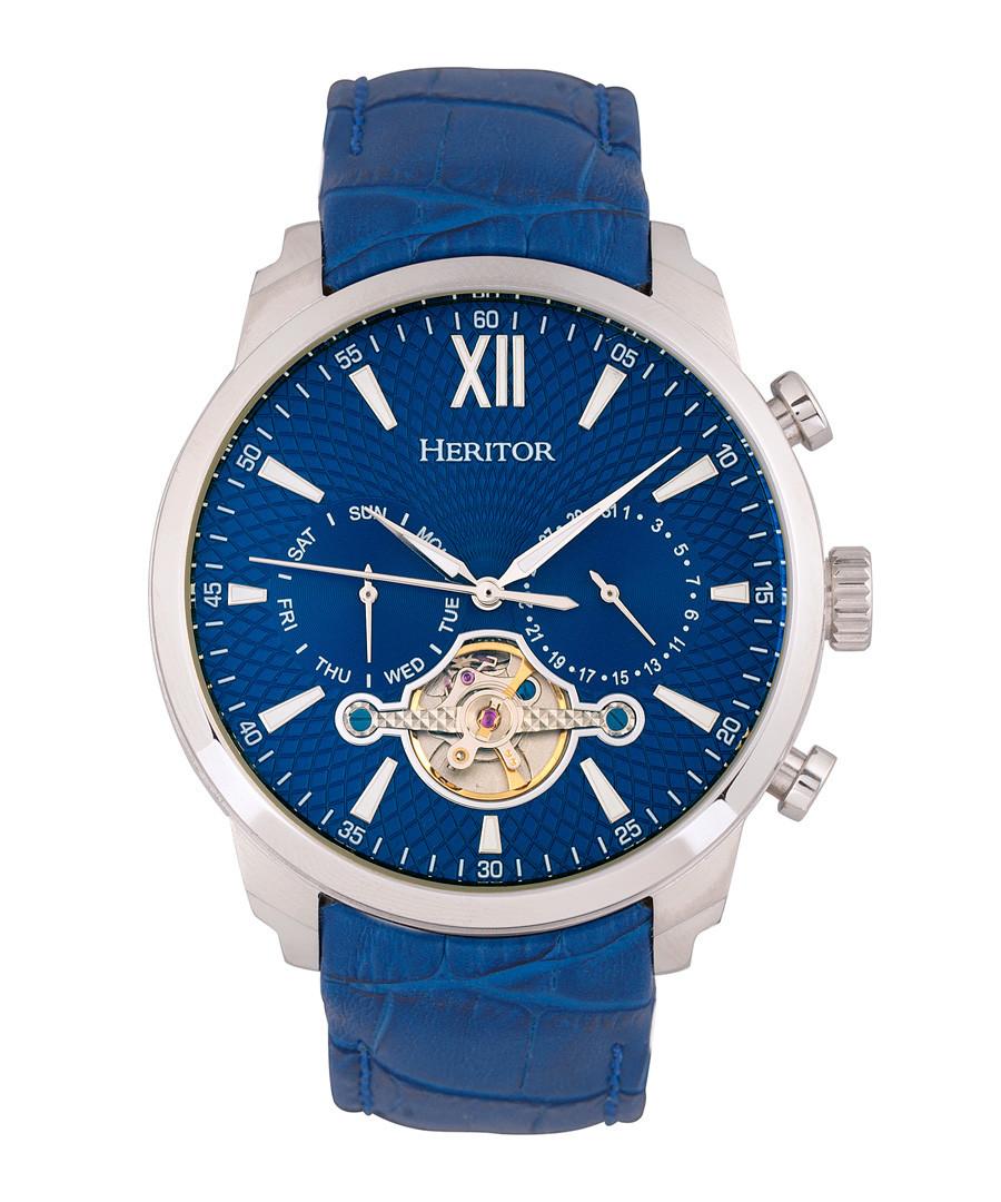Arthur steel & blue leather watch Sale - heritor automatic