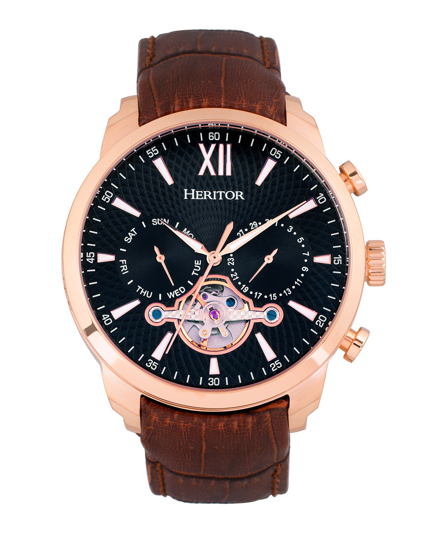 Arthur brown leather watch Sale - heritor automatic