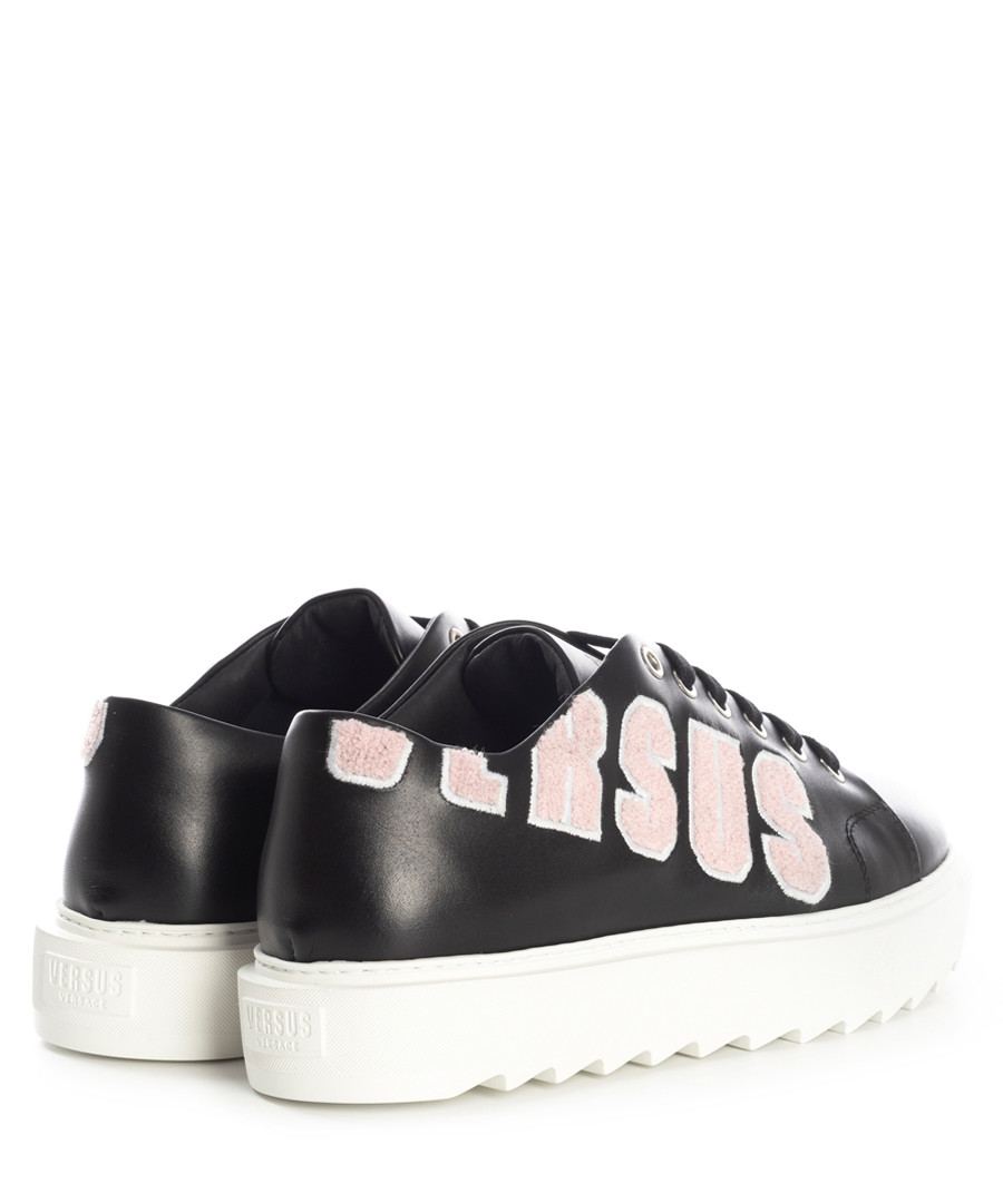554092800f5 ... Black logo lace-up platform sneakers Sale - versace