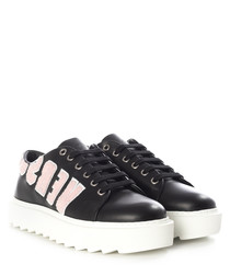 Black logo lace-up platform sneakers