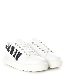 White logo lace-up platform sneakers