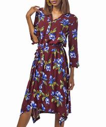 Brown floral 3/4 sleeve dress