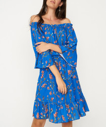 Blue floral off-the-shoulder dress