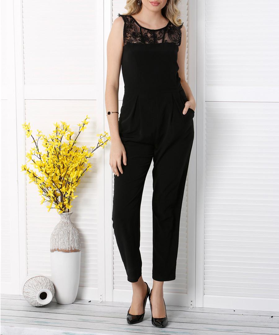 Black lace panel sleeveless jumpsuit Sale - zibi london