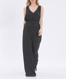 Black spotty V-neck sleeveless jumpsuit