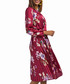 Red long sleeve floral pleated dress Sale - zibi london Sale