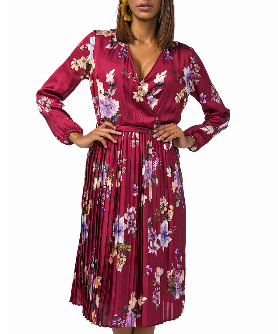 Red long sleeve floral pleated dress Sale - zibi london