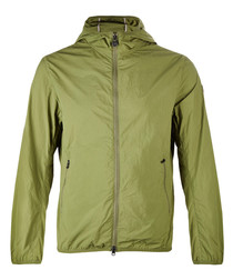 Green lightweight hooded jacket