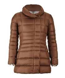 Oil feather & down quilted jacket