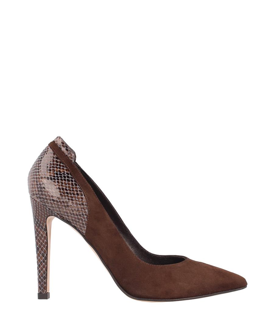 Chocolate leather snake-effect stilettos Sale - El Dantes