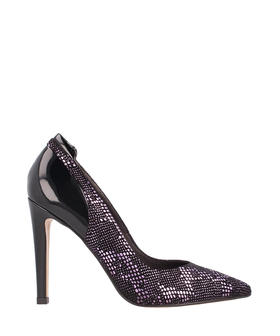 Black leather snake-effect stilettos Sale - el dantes