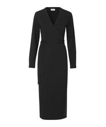 Grass black long sleeve wrap dress