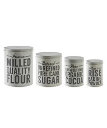 4pc Baker Lane silver-tone storage tins