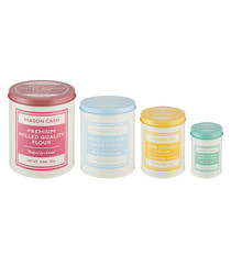 4pc Bakers Authority multi-colour tins