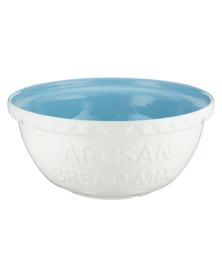 White & blue earthenware mixing bowl 29cm Sale - mason cash